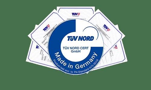 Unsere Produkte sind alle vom TÜV Nord zertifiziert